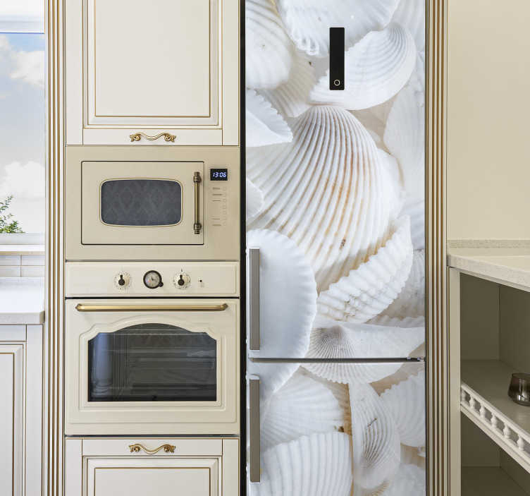 TenStickers. White shells fridge wrap. Wrap the kitchen fridge with this amazing  white shells fridge decal. Buy it in the size that fits your the surface to apply it.