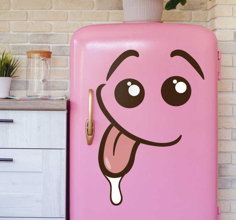 TenStickers. Yummy fridge wrap. Decorative fridge vinyl sticker design of a cheerful yummy expression. Buy it in the size that is preferable to you. Easy to apply.