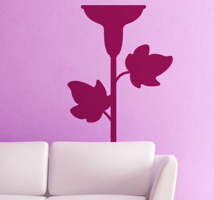 TenStickers. Naklejka świecznik z liśćmi. Naklejka dekoracyjna reprezentująca świecznik z motywamy nawiązującymi do natury. Obrazek idealnie nada się do umieszczenia nie tylko na ścianę, ale także na meble.