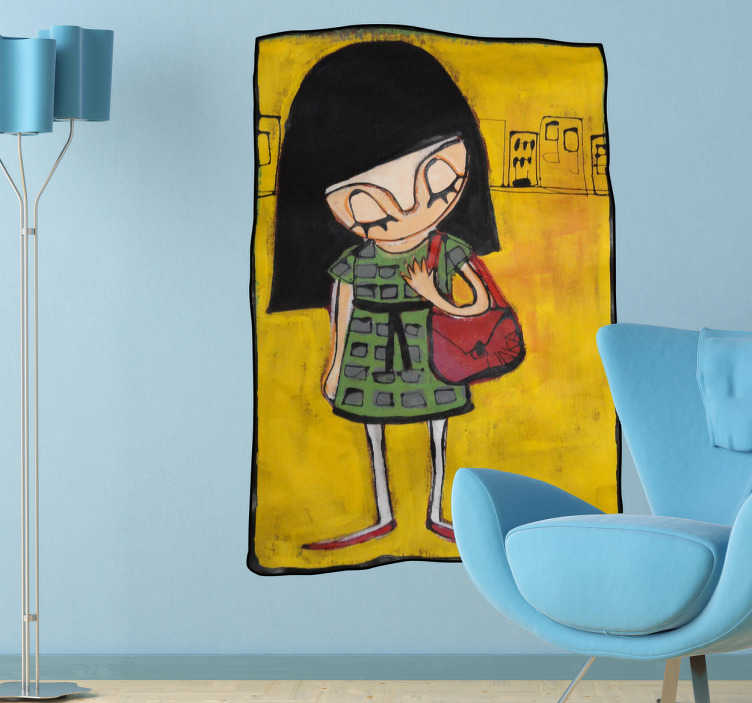 TenStickers. Bag Girl Wall Mural. Wall Stickers - Artisitc illustration of a girl with her handbag in a city by Catalan artist Maka.  Available in various sizes. Long lasting decals.