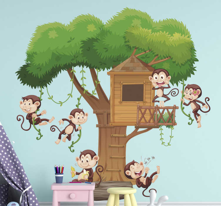 TenStickers. Tree with monkeys tree wall decal. Decorative wall art sticker for children with the design of monkeys playing on a tree with a house on top of it. A fascinating design for kids room.