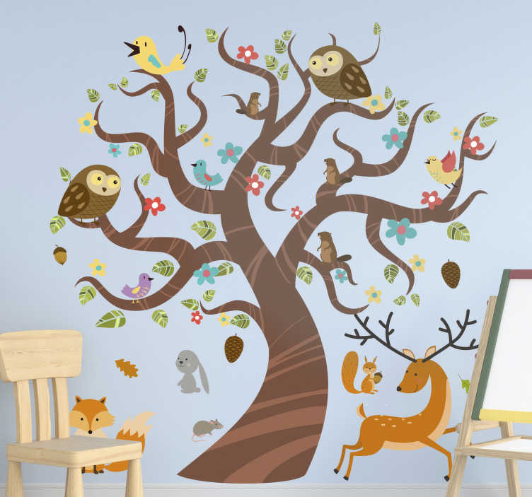 TenStickers. Animals in tree tree wall decal. Decorative wall art sticker of jungle animals on tree for children. Decorate the children wall space in the size that best suit it.