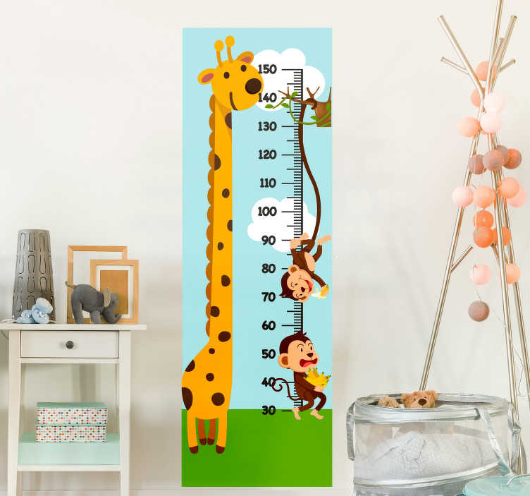 TenStickers. Monkey and giraff measurer height chart wall sticker. Decorative wall sticker of height chart created with the design of a giraffe and monkeys on it in beautiful background. .