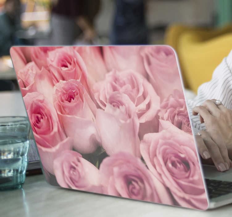 TenStickers. Pink with roses laptop skin. Decorative high quality laptop sticker design of pink roses on beautiful colorful background to wrap the whole surface..