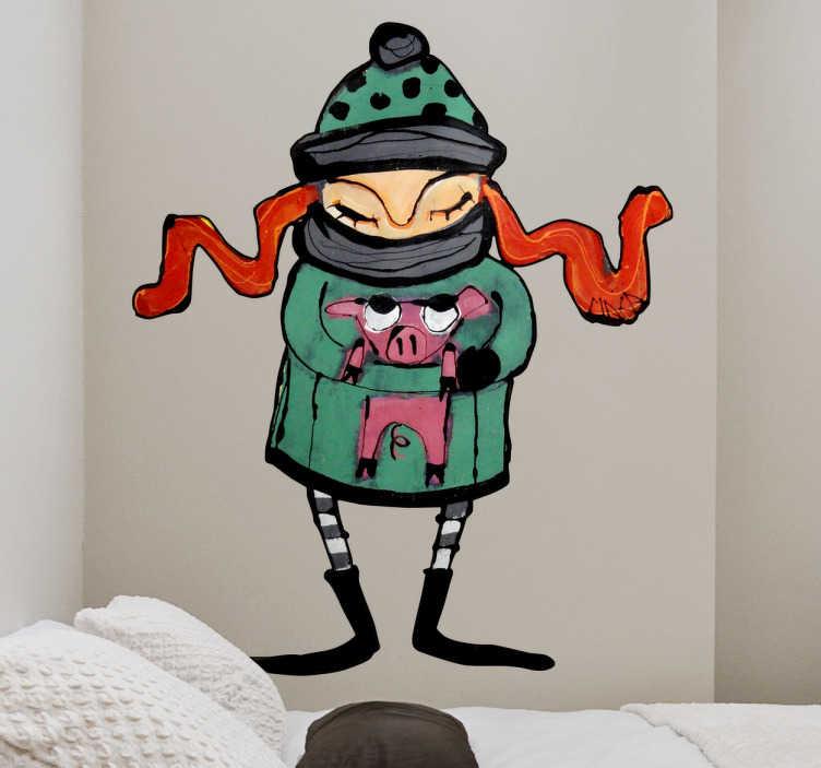 TenStickers. Naklejka dekoracyjna dziewczynka ze świnką. Naklejka dekoracyjna przedstawiająca dziewczynkę z rudymi warkoczami, obejmującą małą świnkę. Ilustracja jest autorstwa Gemma Macarrilla (MAKA).