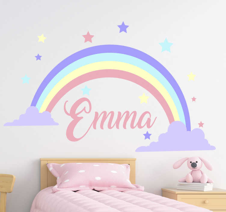 TenStickers. Rainbow customizable name Childrens Bedroom Wall Sticker. Decorative wall art sticker of a rainbow with a customizable name on it. Provide the name you want on it and will be done for you.