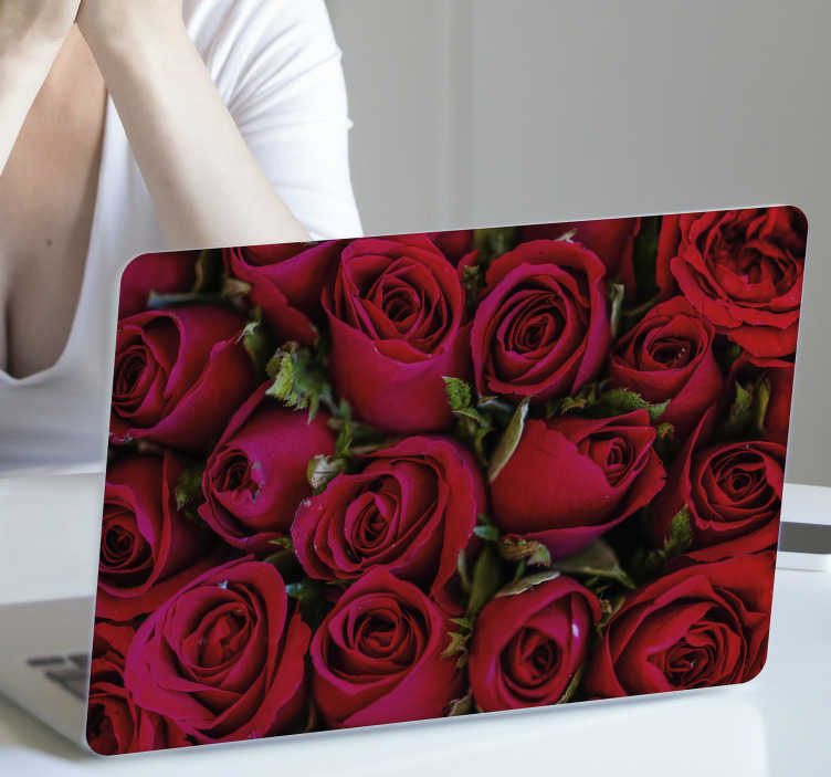 TenStickers. Red floral  laptop skin. Decorative laptop vinyl sticker design of an amazing collection of red petals with a complimenting colorful background. Easy to apply.