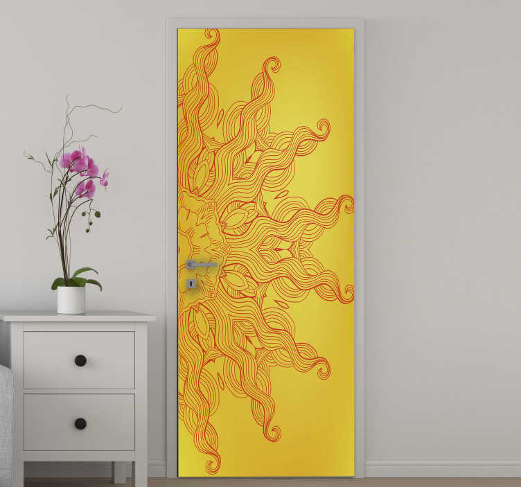 TenStickers. Arabesque sun glass door sticker. Buy our vinyl door sticker with the design of the arabesque sun in beautiful outstanding colour appearance. It is customisable to fit any surface .