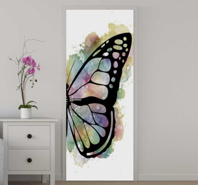 TenStickers. 아름다운 나비 유리 문 스티커. 항상 놀라운 외관으로 문 표면을 떠날 아름다운 나비의 디자인 장식 비닐 도어 스티커.