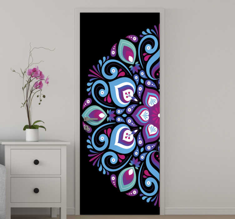 TenStickers. Blue tone mandala glass door sticker. Decorative blue tone mandala door sticker to beautify the surface of door in the home. Use it for the living room or bedroom space.