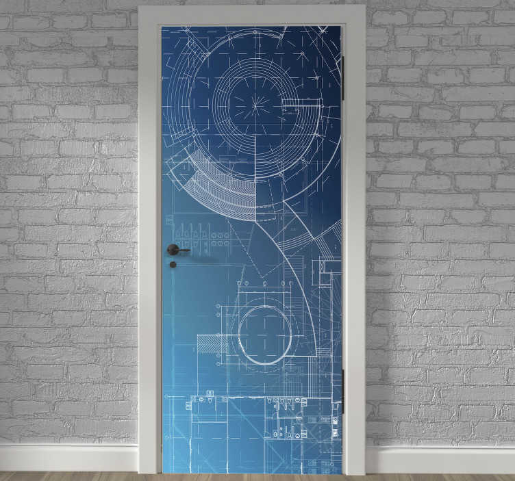 TenStickers. Blueprint glass door sticker. Decorative door sticker with the design of a blue print in an amazing background. Easy to apply on any flat surface and customisable.