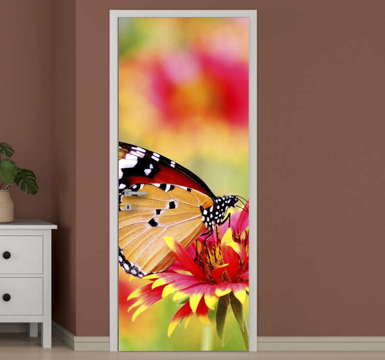 TenStickers. Butterfly perched on flower glass door decal. Butterfly perched on flower door sticker design to transform the any door space in the home. It is customisable to fit into any desired surface.