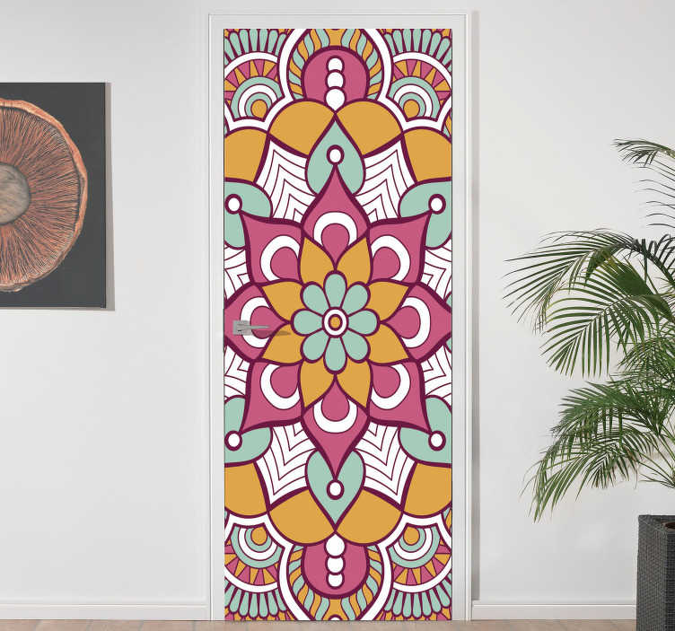 TenStickers. Colorful mandala glass door sticker. Decorative door decal with the design of a colorful mandala on it. Customizable to fit any surface of choice. Easy to apply.