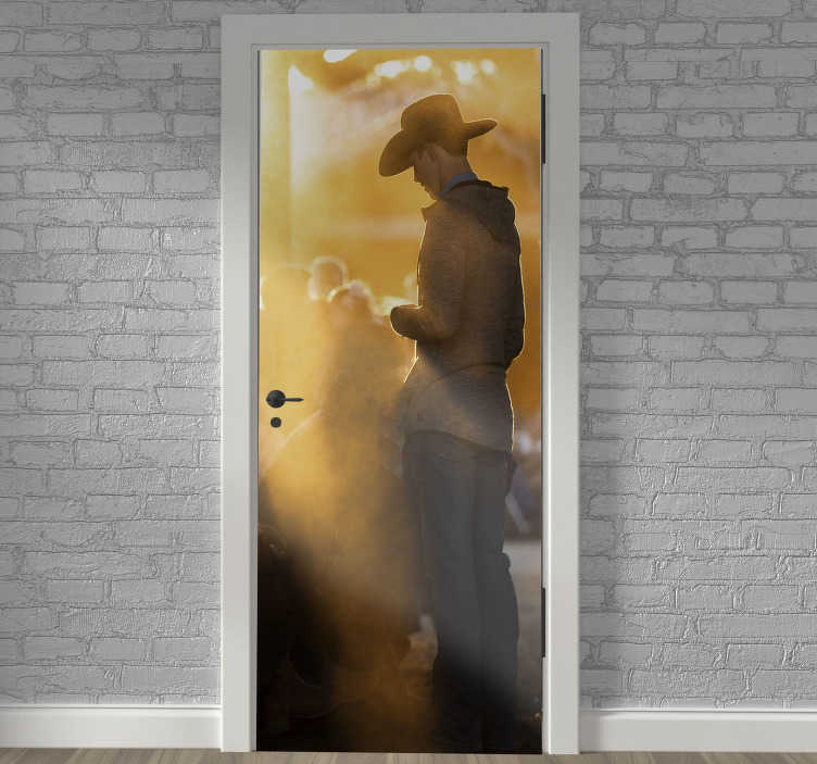 TenStickers. Cowboy man glass door sticker. Decorative door vinyl sticker of a cowboy standing in a typical background appearance. Easy to apply on any flat surface.