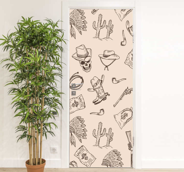 TenStickers. Cowboy Pattern glass door sticker. Decorative door vinyl sticker with cowboy theme features on it. Ideal for bedroom space and the size is customisable to fit any surface.
