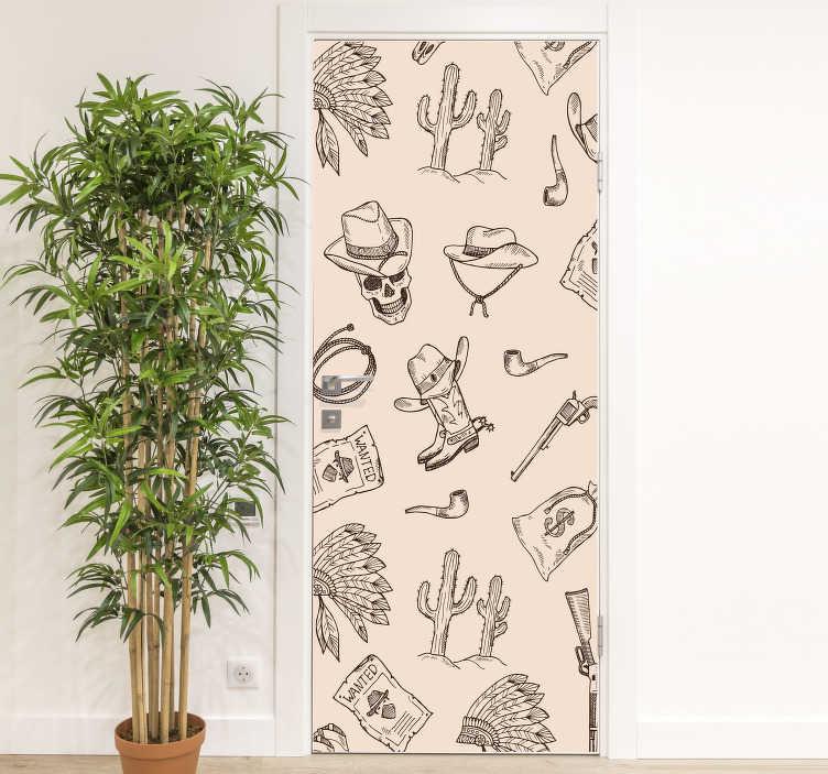 TenStickers. 카우보이 패턴 유리 문 스티커. 그것에 카우보이 테마 기능을 가진 장식적인 문 비닐 스티커. 침실 공간에 이상적이며 크기는 모든 표면에 맞게 사용자 정의 할 수 있습니다.