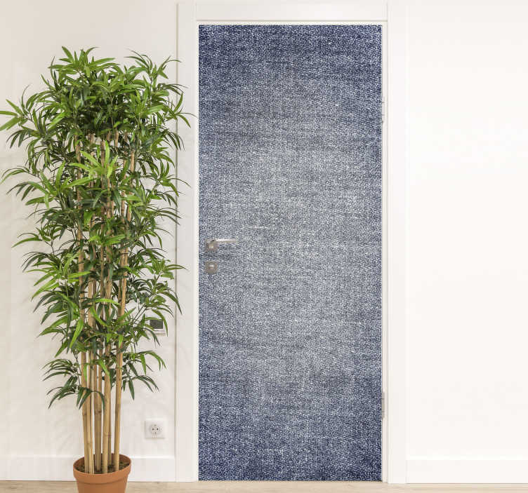 TenStickers. Denim glass door sticker. Decorative Denim textured door sticker design to cover the whole surface of a door in the home or office space . Customisble to fit any space.