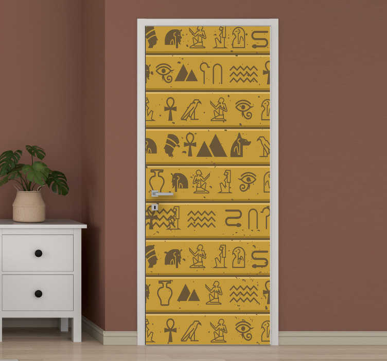 TenStickers. Egiptian sculpture glass door sticker. Egyptian sculpture door sticker with all the features of Egypt symbolic representation it. It can be customized to fit where you want it on.