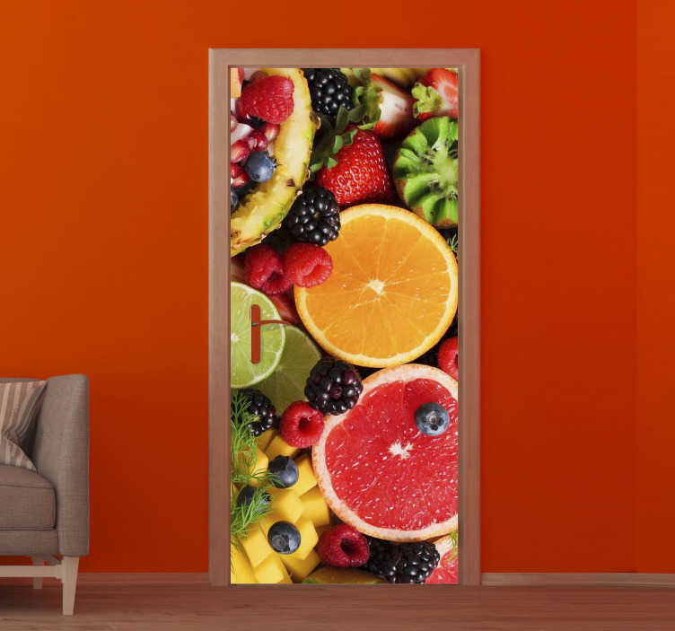 TenStickers. Fruits glass door sticker. Decorative door sticker with the design of different fruits in colorful background. An ideal design for the kitchen space.