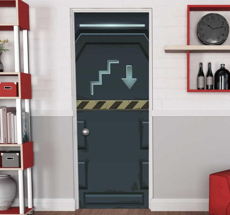 TenStickers. 未来派玻璃门贴纸. 装饰门贴纸与未来派的设计。它是可定制的,以匹配任何所需的表面。可用于家庭门空间或办公室。