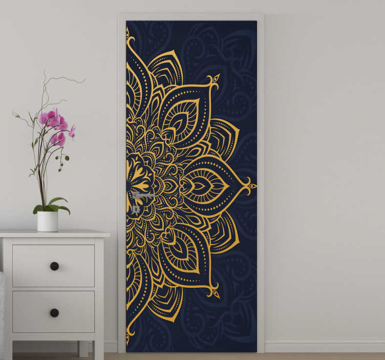 TenStickers. Golden luxury mandala glass door sticker. An amazing door sticker design of a mandala pattern in a luxury golden appearance . We make it customisable to fit any surface to apply the product.