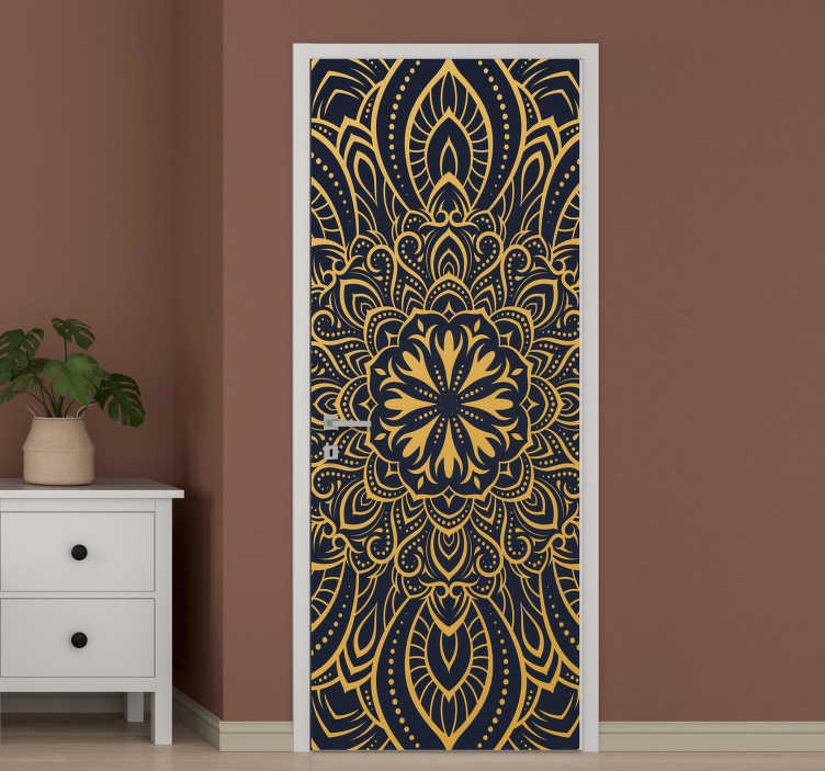 TenStickers. Golden mandala glass door sticker. Decorative door sticker designed with the print of mandala in rich golden background. It is customisable to fit any door size.