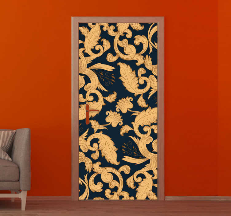 TenStickers. Golden ornamental floral glass door sticker. Decorate any door surface in the home and  any other place with this ornamental flower door sticker in rich golden background.