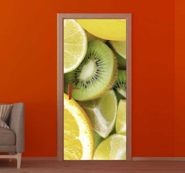 TenStickers. Kiwi, lemon and orange glass door sticker. Buy our decorative door sticker with the design of fruits like kiwi, orange and lemon on it in it original real appearance.