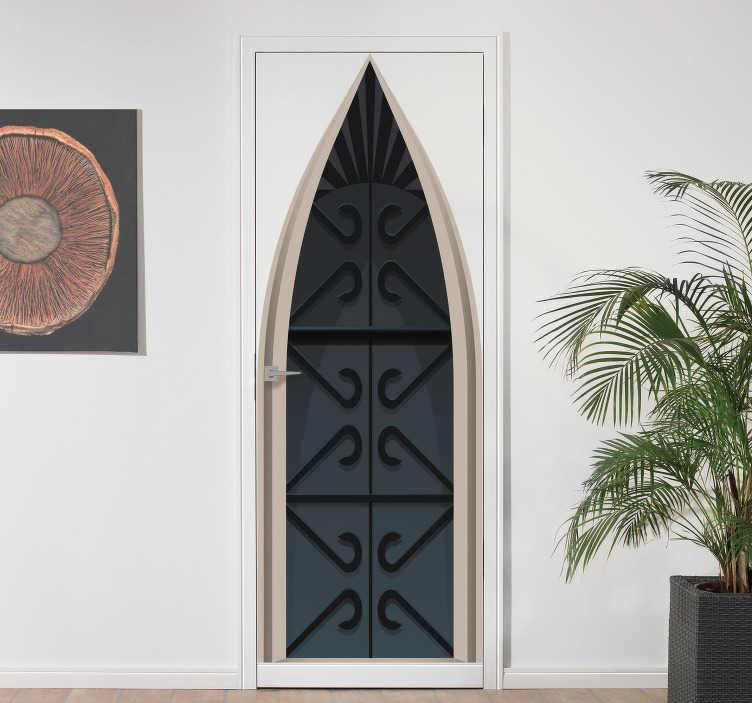 TenStickers. Nalepka srednjeveških grajskih steklenih vrat. Okrasna nalepka z vinilom na vratih z zasnovo srednjeveškega gradu. Prilagodljiv je po velikosti katerega koli prostora za uporabo zasnove.