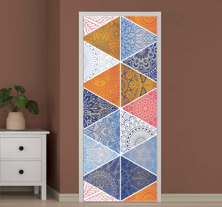 TenStickers. Modern geometric mandala glass door sticker. Easy to apply door vinyl sticker with the design of mandala in geometric pattern. A design of high quality and customisable to fit any space.