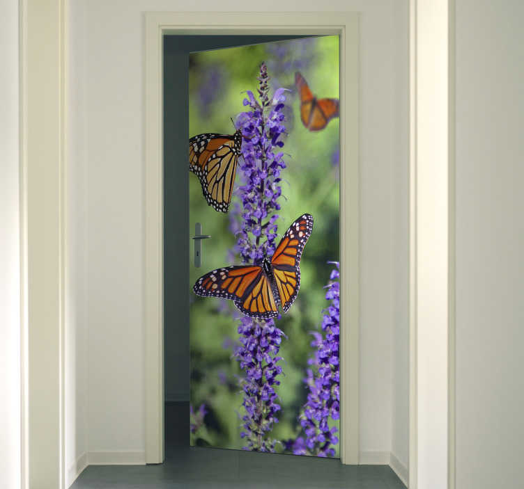 TenStickers. Monarch Butterfly glass door decal. Decorative door sticker with the design of monarch butterflies in very fascinating appearance. It is customisable to adapt to any desired space .