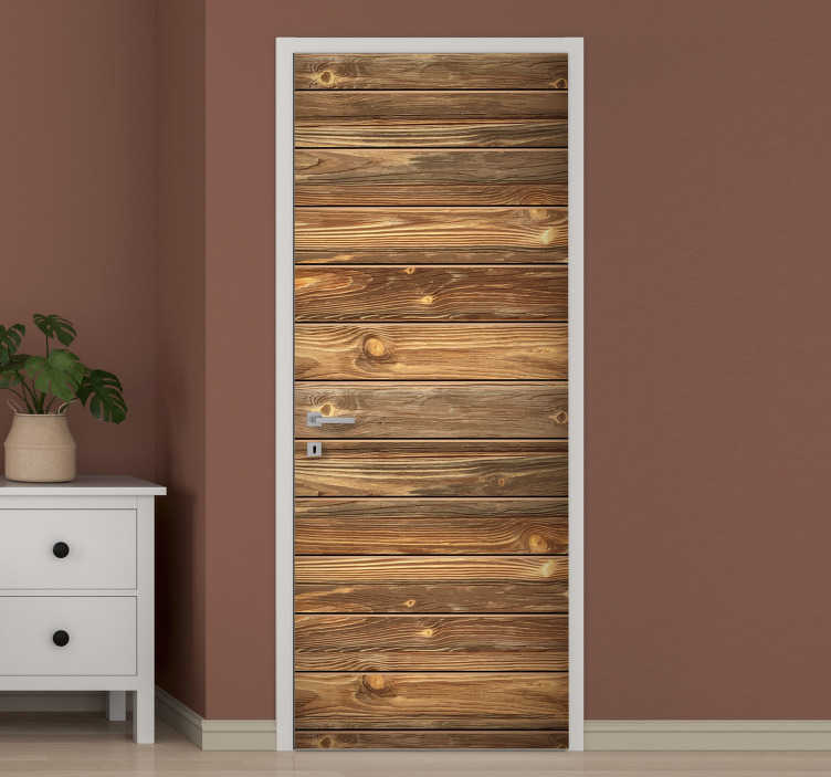 TenStickers. Old wood glass door sticker. An original old wood texture door sticker to decorate the door surface in the home. Can be applied on any of the door. You can have it in any size.
