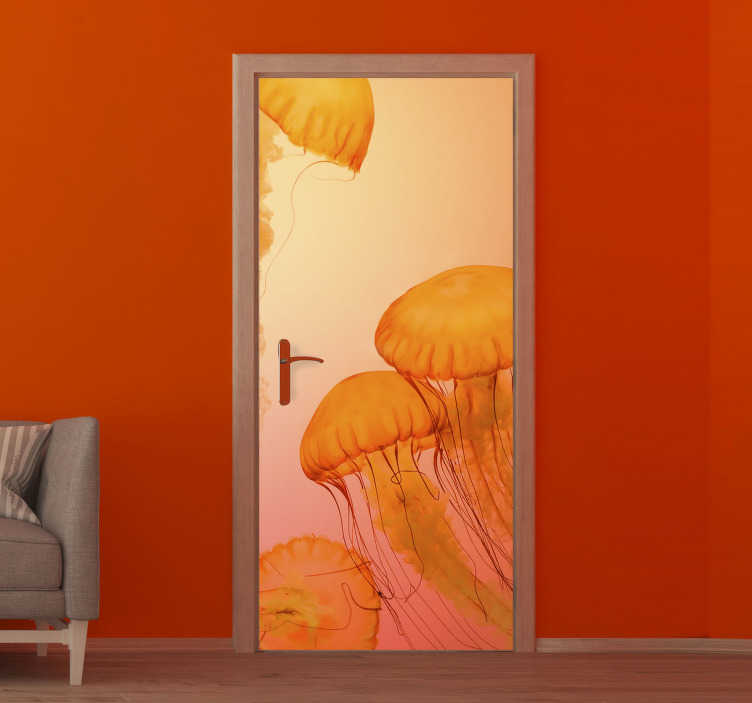 TenStickers. Orange Jellyfish glass door sticker. Decorate the door surface with our original door vinyl decal of jelly fish in an amazing orange background colour. You can have it in nay size .