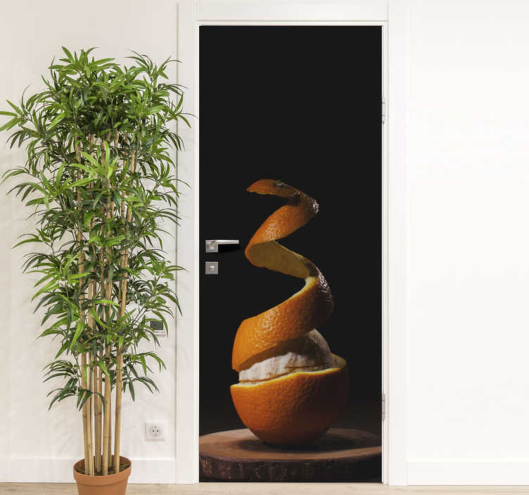 TenStickers. Peeled orange glass door sticker. Decorate any door space in the home with our original peeled orange door sticker design available in any size of choice.