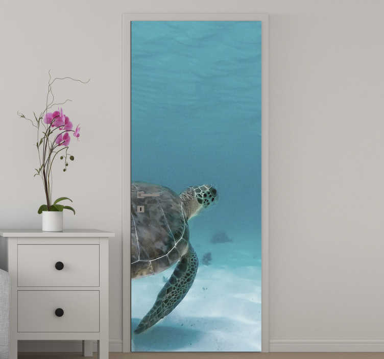 TenStickers. Real turtle under sea glass door decal. Decorative door sticker with the original appearance of turtle under sea.  An amazing design for all door surface in the home.