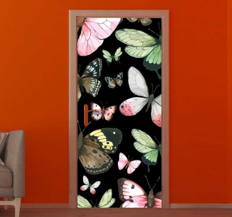 TenStickers. Realistic butterflies glass door sticker. Decorative door sticker of colorful butterflies in original appearance  look. You can have it in any size that will fit the door space in the home.