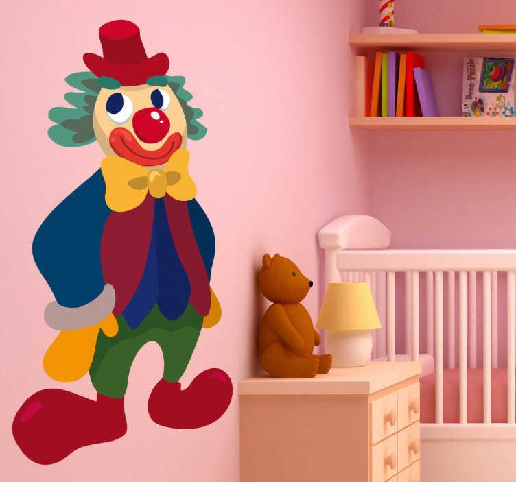 TenStickers. Sticker kind clown kleuren. Deze muursticker omtrent een clown met felle kleuren en grote schoenen. Ideaal voor het decoreren van de kinderkamer. Eenvoudig aan te brengen.
