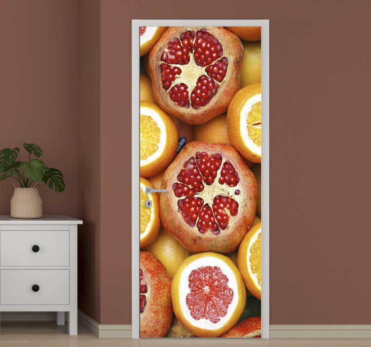 TenStickers. Sliced fruits glass door decal. Original vinyl door sticker of sliced fruits to beautify the door in the kitchen. It amazing appearance on the door will transform the space.