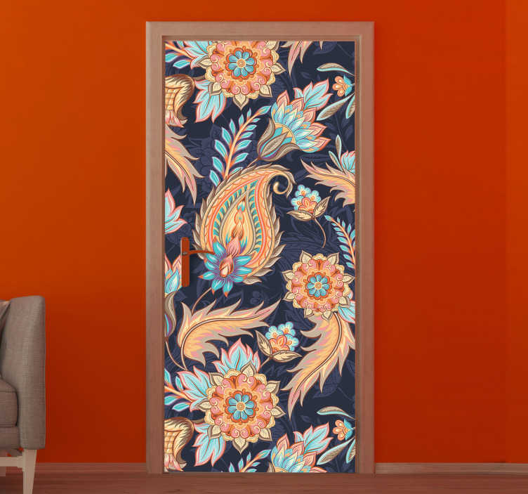 TenStickers. Soft tones paisley pattern glass door sticker. Decorative door sticker design of soft tone paisley pattern to beautify the kitchen door space to create a fascinating touch in it.