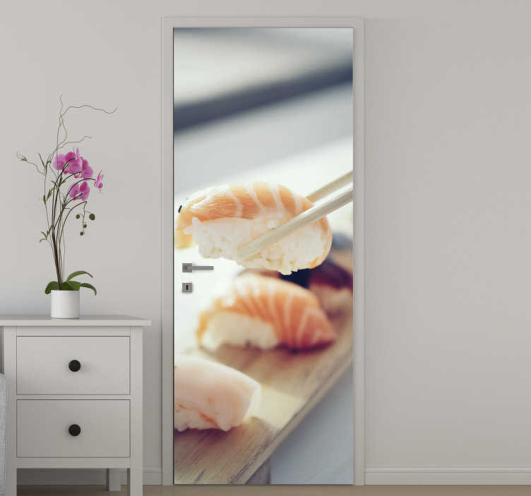 TenStickers. Sushi kitchen glass door sticker. Buy our decorative and ideal door sticker for kitchen space designed with sushi to create an amazing food appearance for the space.