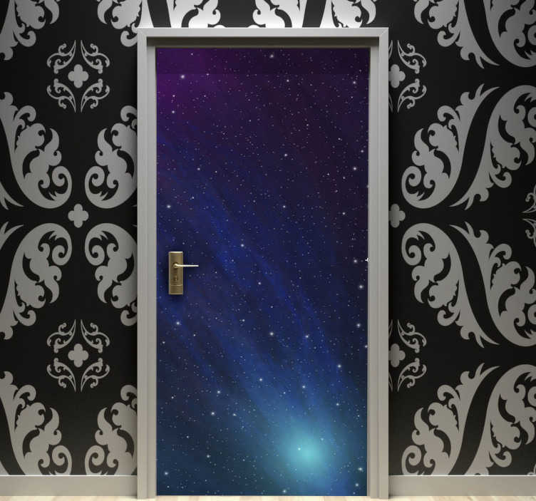 TenStickers. Universe glass door sticker. Decorative vinyl door sticker of the universe designed with the appearance of the atmosphere. A colorful and graceful decal for all space in the home.
