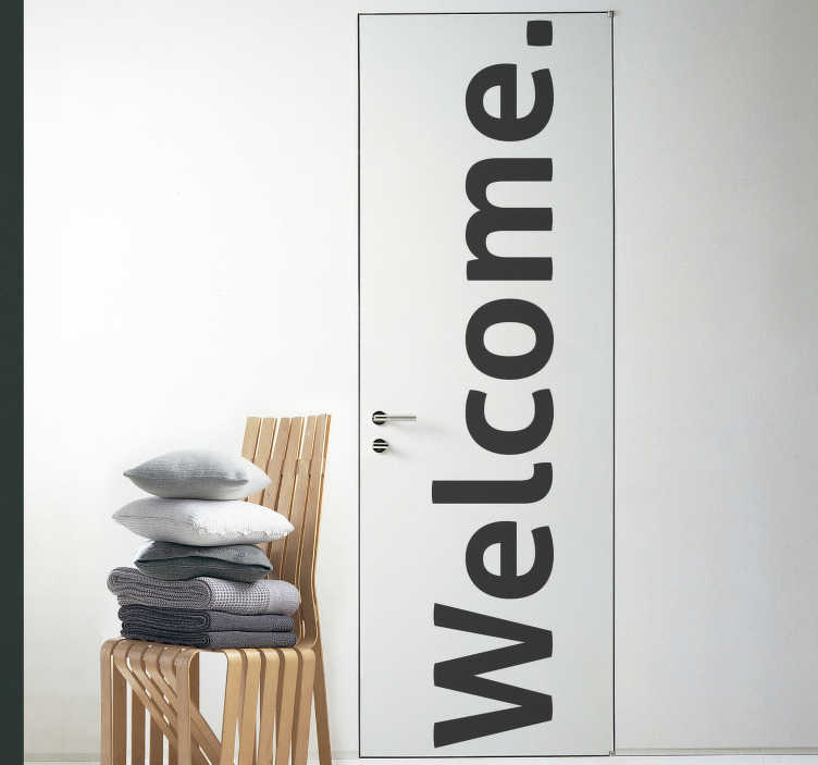 TenStickers. 환영 단어 유리 문 데칼. 가정이나 공간의 문 표면을 장식하는 환영 텍스트가있는 장식 문 스티커. 원하는 표면에 맞게 사용자 정의 할 수 있습니다.