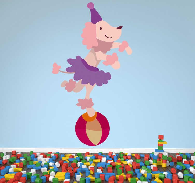 Sticker enfant chien cirque ballon