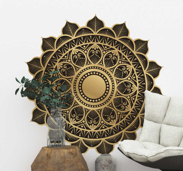 TenStickers. Oriental floral wall decal. Decorative original oriental mandala floral wall sticker designed in beautiful rich background to decorate any flat surface .