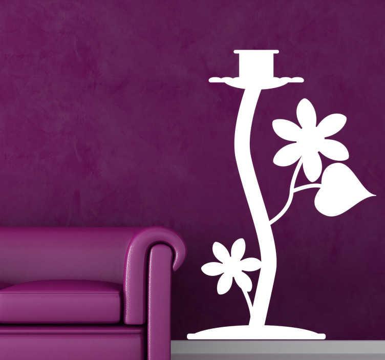TenStickers. Sticker decorativo candelabro 8. Adesivo murale che raffigura un simpatico portacandele con ornamenti floreali. Una decorazione ideale per il soggiorno o la camera da letto.