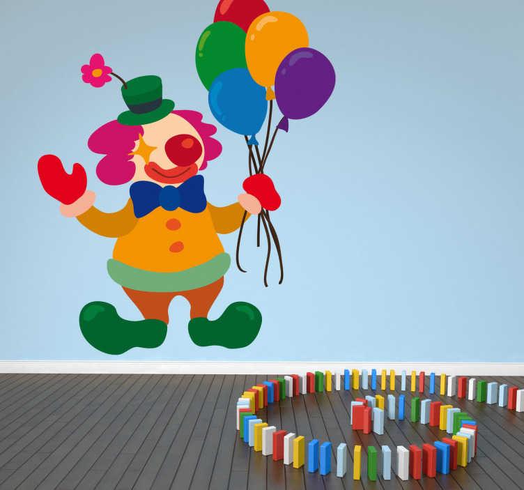TenVinilo. Pegatina infantil clown con globos. Sonriente payaso con gran nariz roja y de llamativos colores sostiene un montón de globos. Vinilo ideal para decoración infantil.