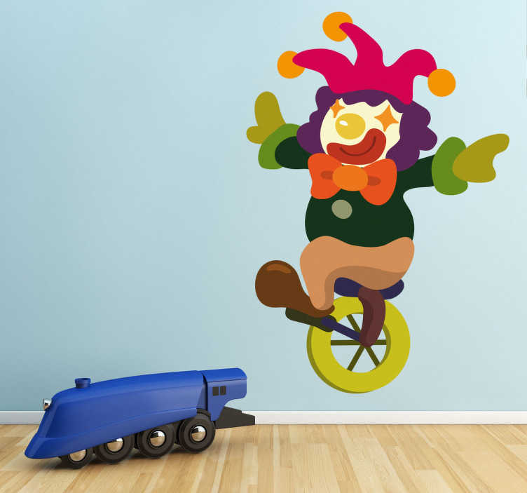TenStickers. Harlequin in Unicycle Kids Stickers. An original decal of a happy clown in a unique unicycle practising before the big show at the circus!