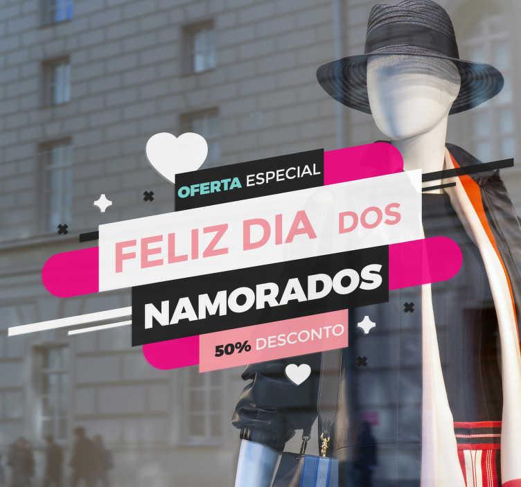 TenStickers. Autocolante para montras Oferta Dia dos Namorados. Um autocolante de S. Valentim para montras simples para decorar as montras de loja e promover as vendas no Dia dos Namorado.