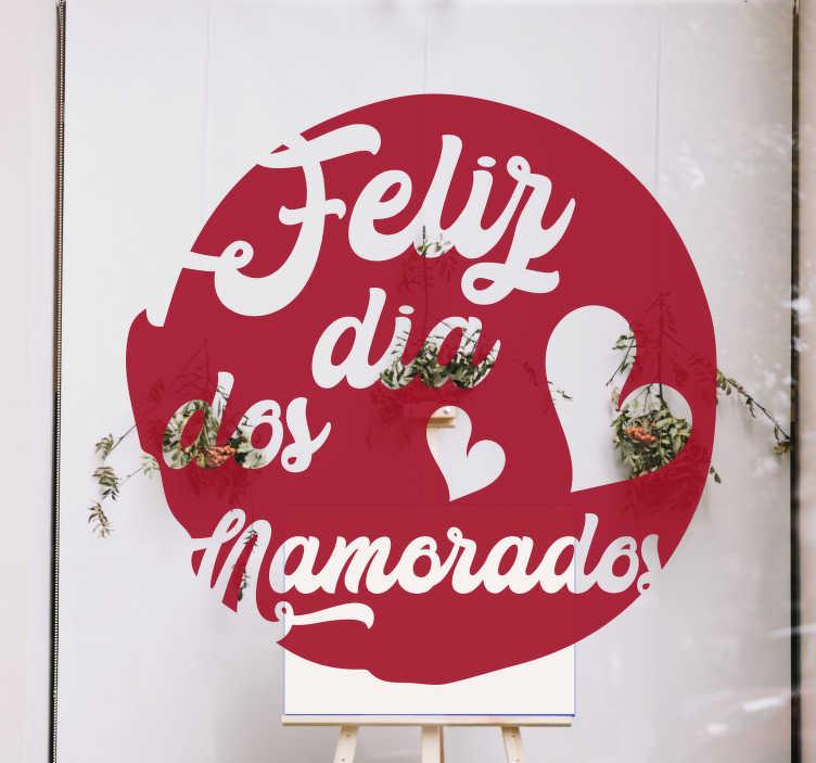 TenStickers. Vinil para montras redondo do Dia dos namorados. Fantástico autocolante para montras de S. Valentim para decorar a montra da sua loja no próximo dia dos namorados.