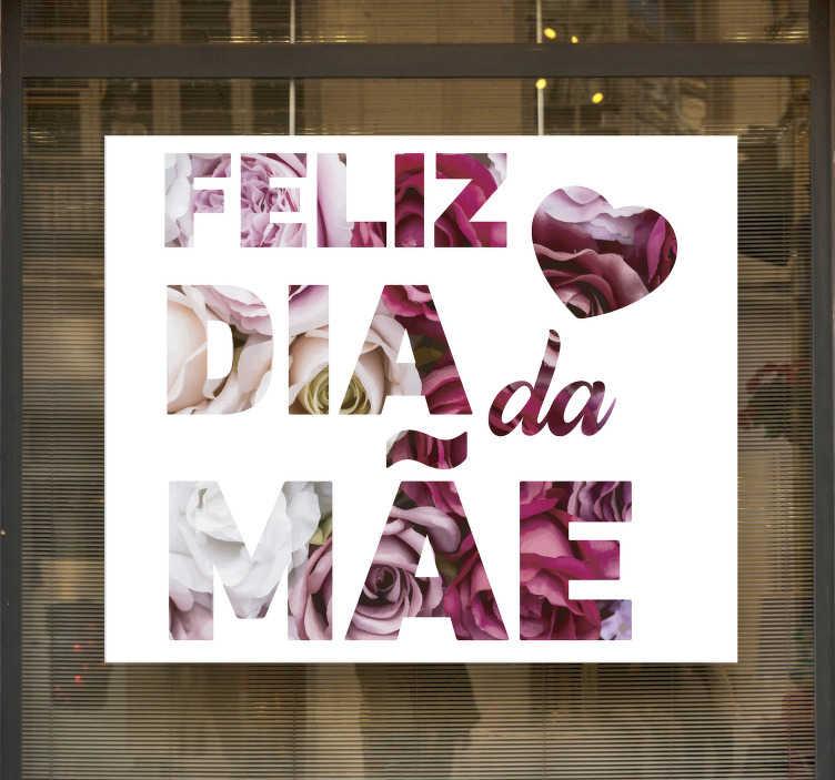 TenStickers. Vinil decorativo para montras floral Feliz Dia da Mãe. Autocolante para montras Feliz Dia da Mãe para decorar a montra da sua loja e destacar o seu negócio neste dia especial.